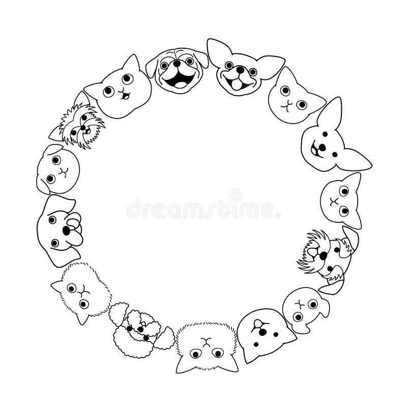 Círculo da cara dos cães e gato ilustração stock
