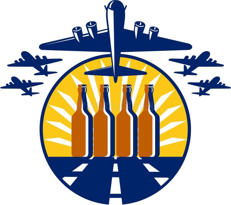Círculo da garrafa de cerveja do bombardeiro B-17 pesado retro ilustração do vetor