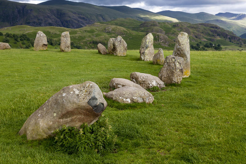 Círculo da pedra de Castlerigg, perto de Keswick, Cumbria, Inglaterra foto de stock