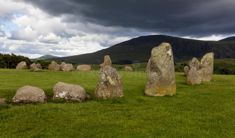 Círculo da pedra de Castlerigg, perto de Keswick, Cumbria, Inglaterra fotografia de stock royalty free