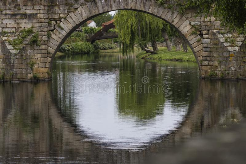 Círculo da reflexão da ponte imagem de stock royalty free