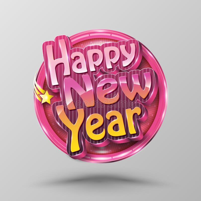 Círculo da rotulação do ano novo feliz Estilo moderno da caligrafia 3D para ilustração stock