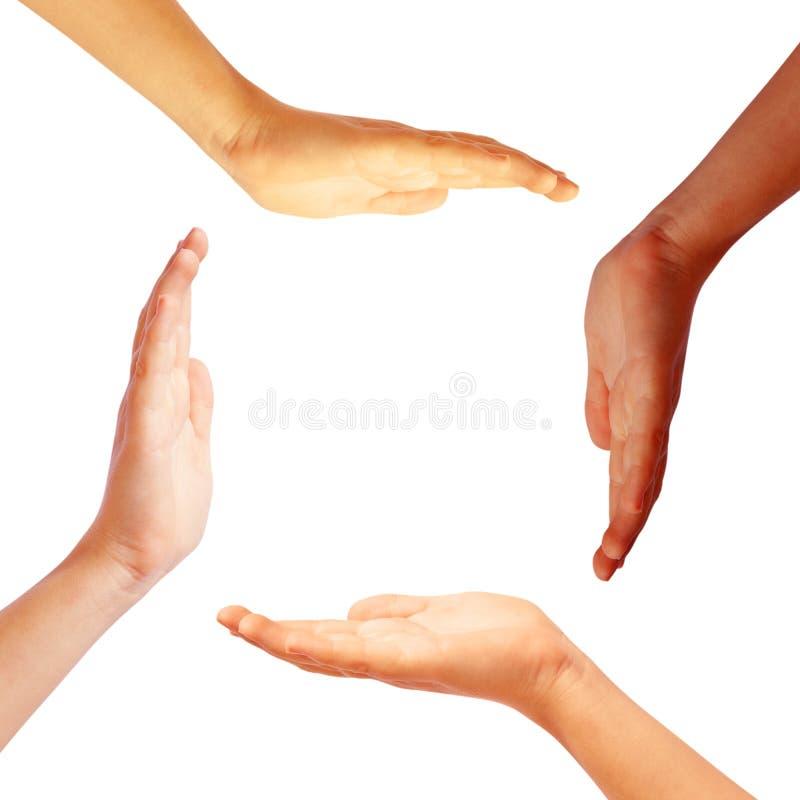 Círculo das mãos fotos de stock