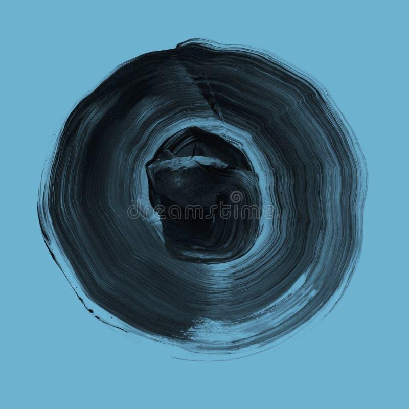 Círculo de acrílico texturizado gris Mancha del Watercolour en el fondo azul de Niágara ilustración del vector