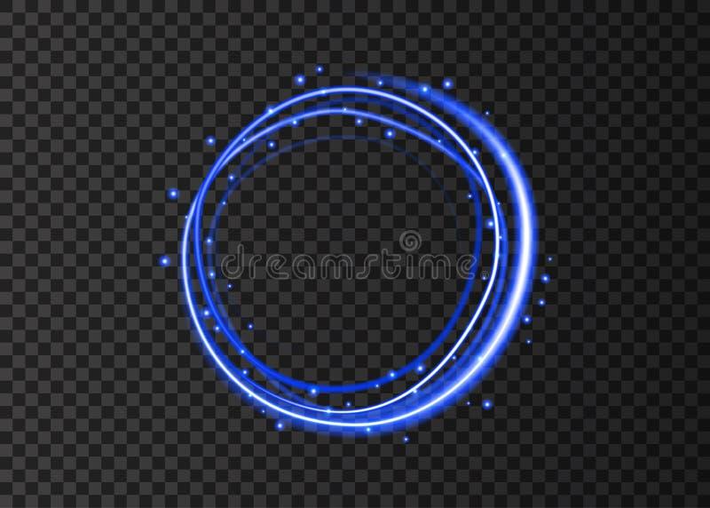 Círculo de brilho azul com sparkles mágicos do brilho ilustração do vetor