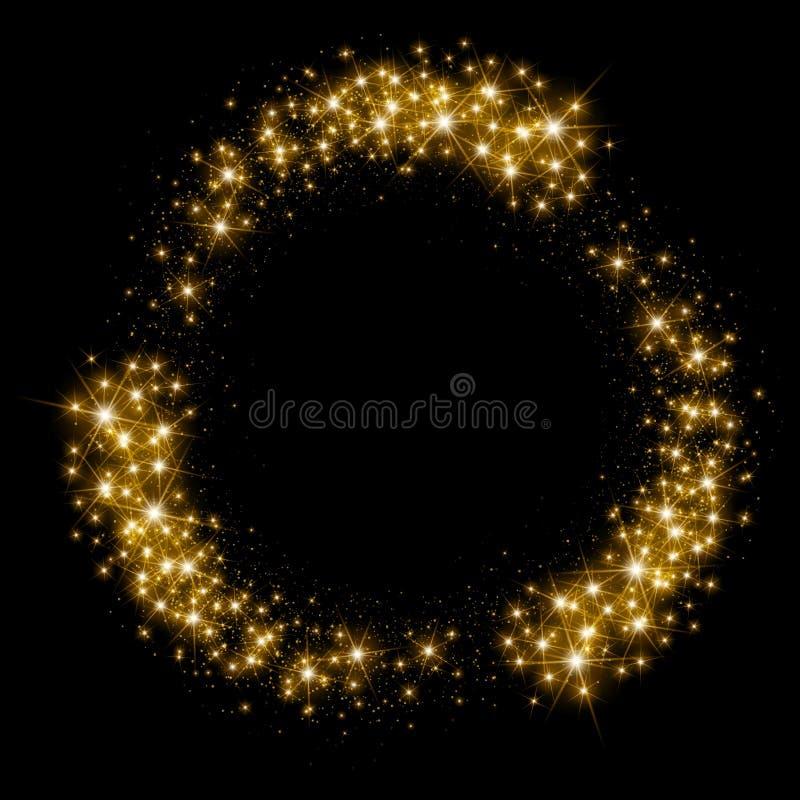 Círculo de brilho da poeira de estrela do ouro ilustração stock