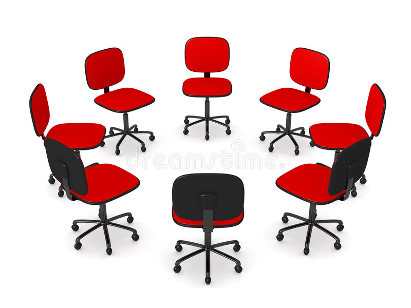 Círculo de cadeiras do escritório ilustração do vetor