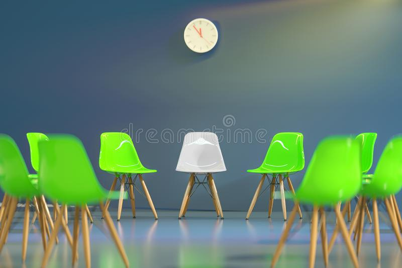 Círculo de cadeiras do projeto moderno com a uma uma impar para fora Oportunidade de trabalho Liderança do negócio Conceito do re ilustração stock