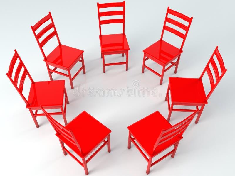 Círculo de cadeiras vermelhas ilustração royalty free