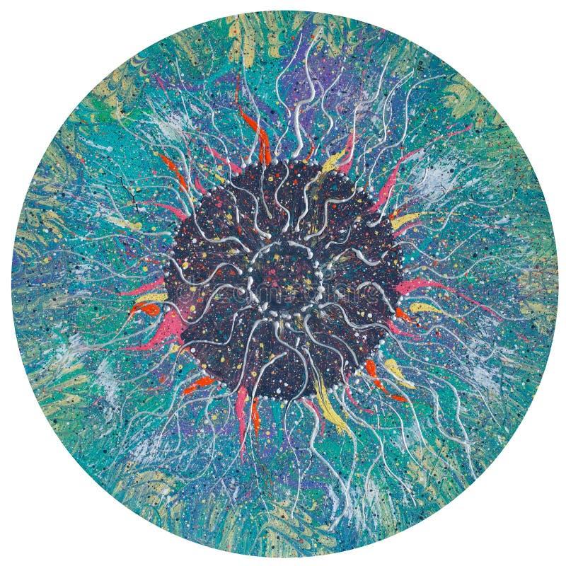 Círculo de Colorfull no fundo branco Pintura a óleo abstrata criativa ilustração stock