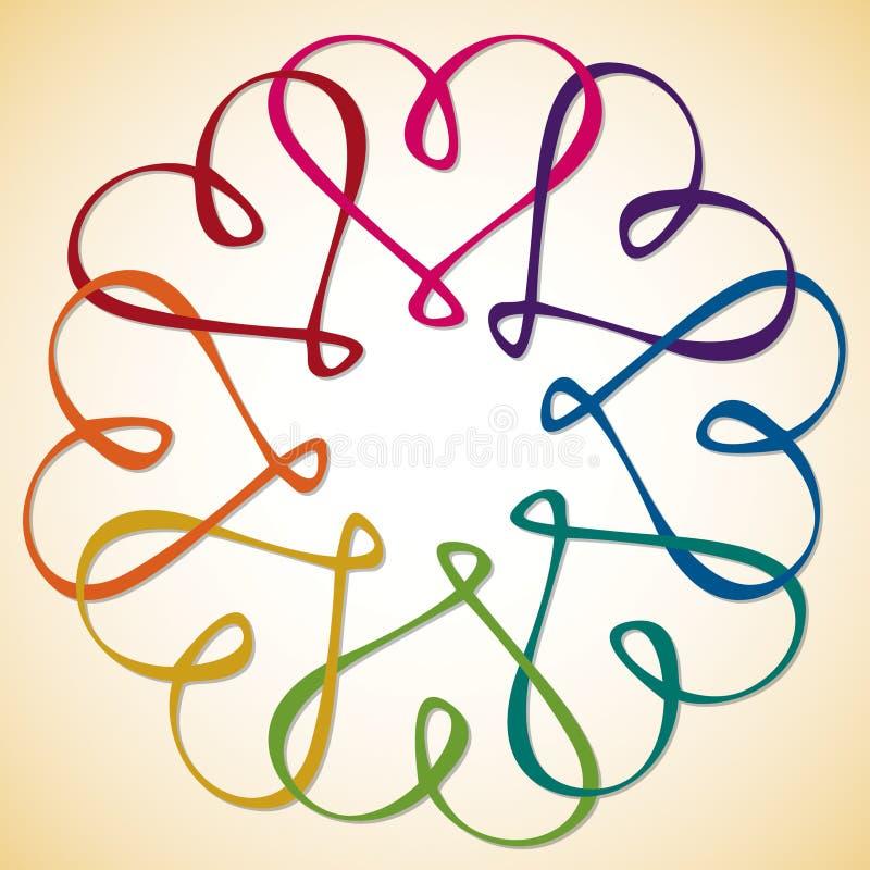 Círculo de corazones stock de ilustración