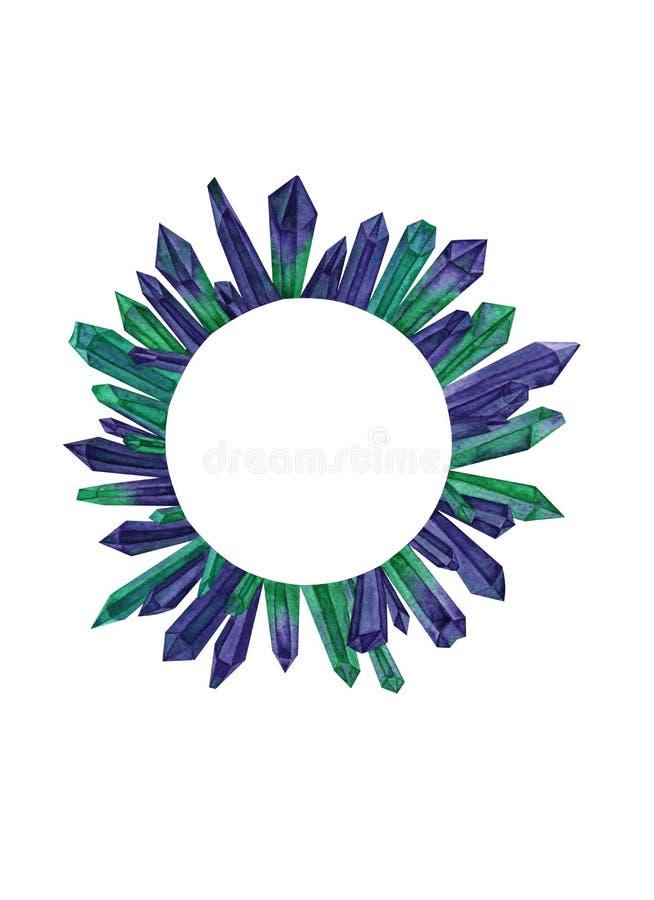 Círculo de cristais verdes e roxos da aquarela ilustração do vetor