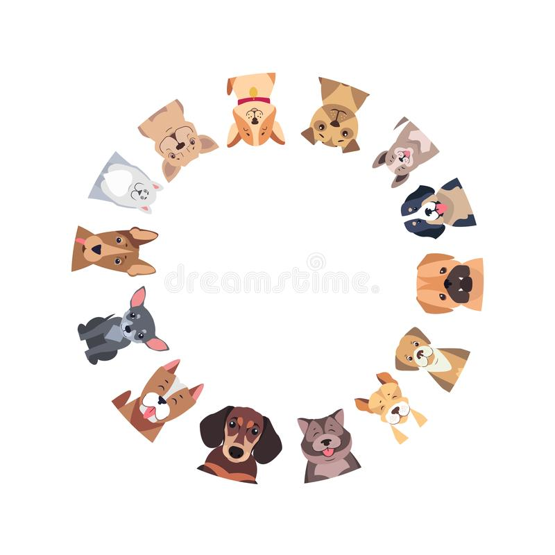 Círculo de diversos perros criados en línea pura Vector ilustración del vector