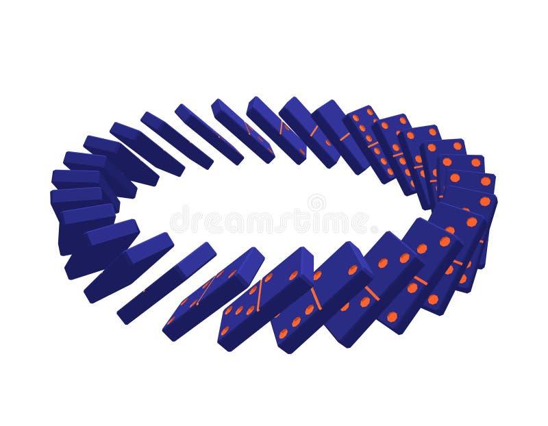 Círculo de dominós de queda Isolado no fundo branco Vetor ilustração stock