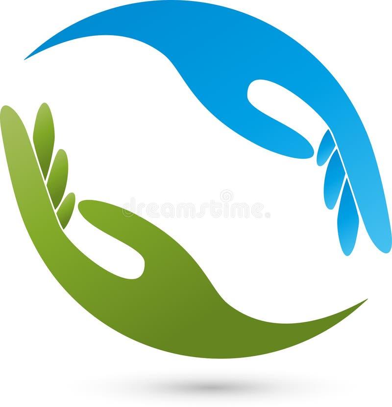 Círculo de duas mãos, mãos e logotipo do ajudante ilustração stock