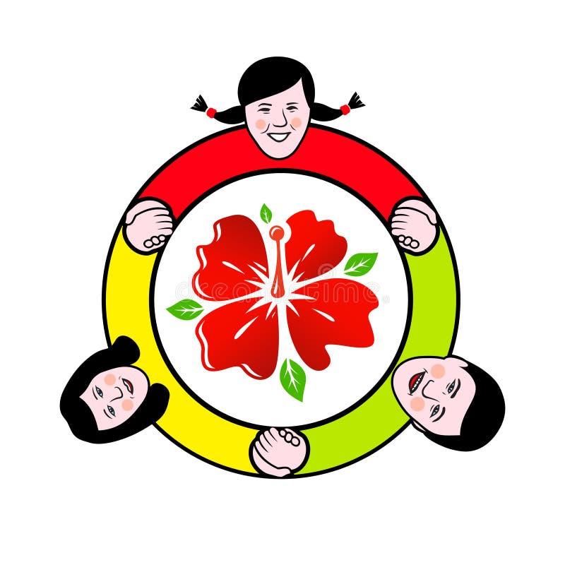 Círculo de família em torno do sinal da flor ilustração stock