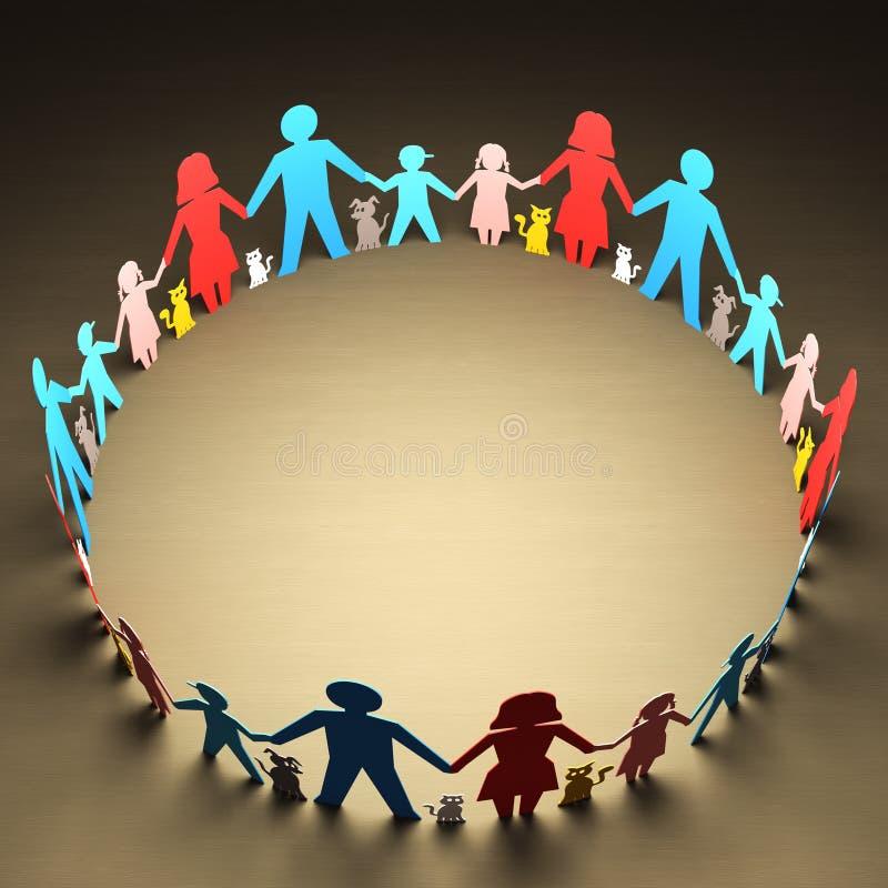 Círculo de famílias ilustração stock