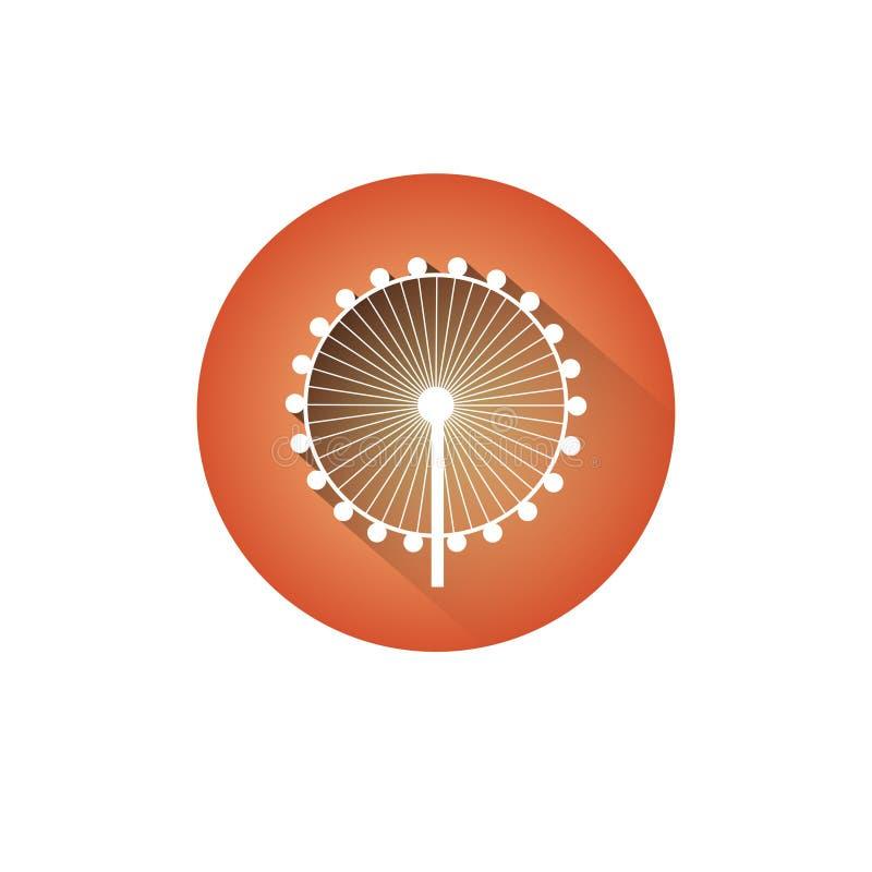 Círculo de Ferris Wheel Icon Silhouette Observation ilustración del vector