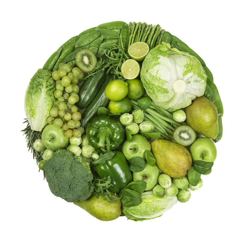 Círculo de frutas e legumes verdes imagem de stock