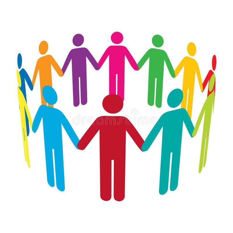 Círculo de hombres coloridos stock de ilustración