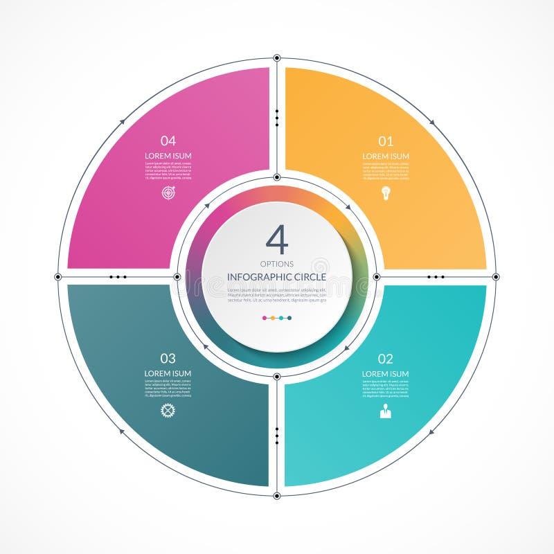 Círculo de Infographic en la línea fina estilo plano Plantilla de la presentación del negocio con 4 opciones ilustración del vector