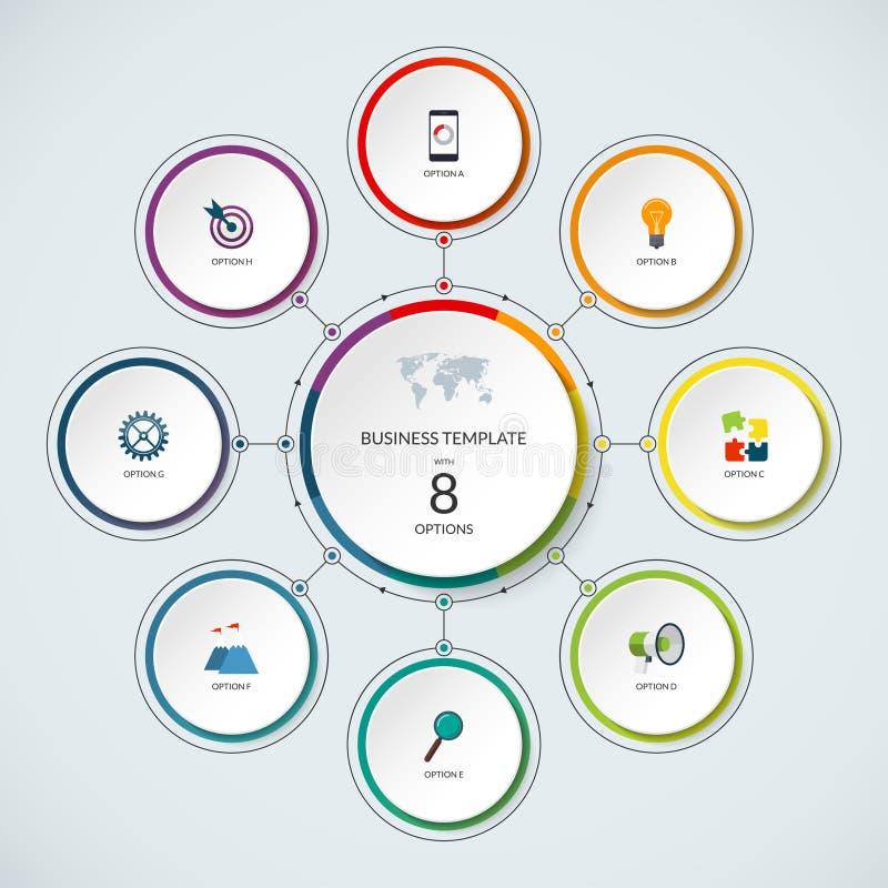 Círculo de Infographic Plantilla minimalistic moderna con 8 opciones ilustración del vector