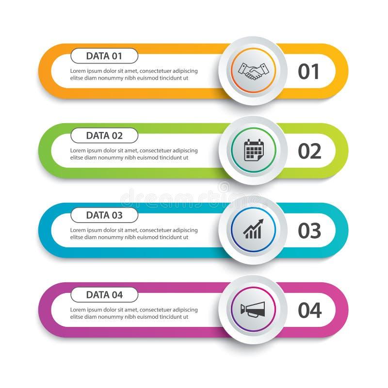 Círculo de Infographics y índice de la etiqueta en papel horizontal con la plantilla de 4 datos Fondo del extracto del ejemplo de stock de ilustración