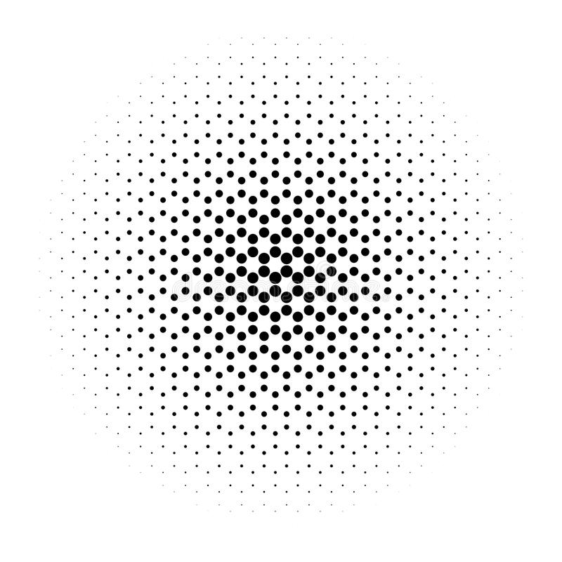 Círculo de intervalo mínimo abstrato dos pontos em sextavado radial Elemento preto e branco da ilustração do vetor ilustração stock