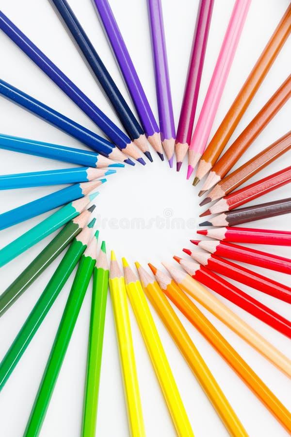 Círculo de lápis do fundo do sumário do colorfull fotografia de stock royalty free