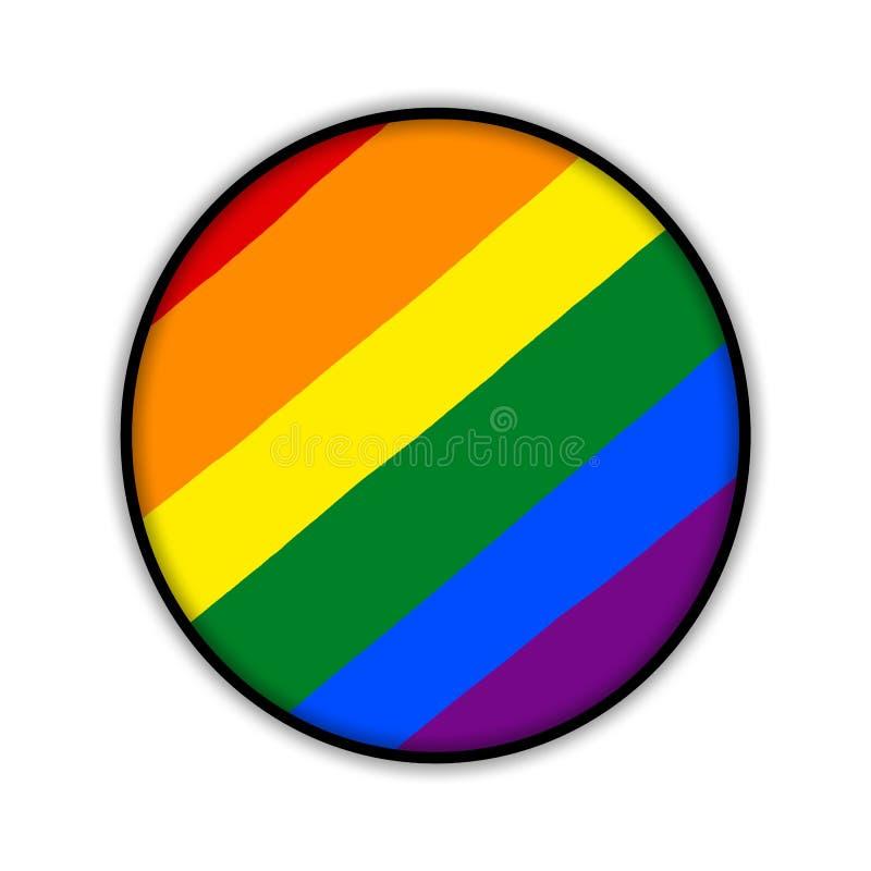 Círculo de la bandera del orgullo gay del arco iris, símbolo de minorías sexuales stock de ilustración
