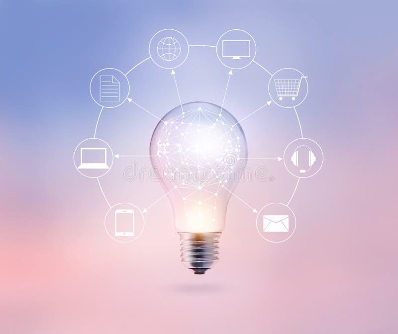 Círculo de la bombilla global y conexión de red del cliente del icono en fondo del color en colores pastel, el canal de Omni o el imágenes de archivo libres de regalías