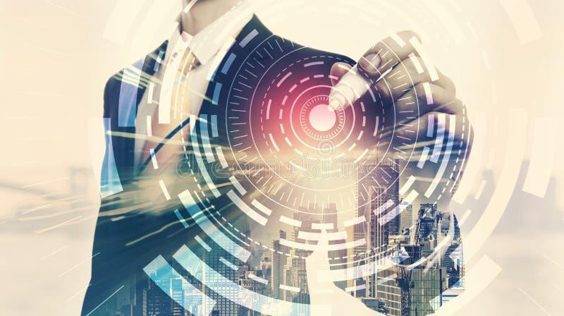 Círculo de la tecnología de Digitaces con la exposición doble del hombre de negocios stock de ilustración