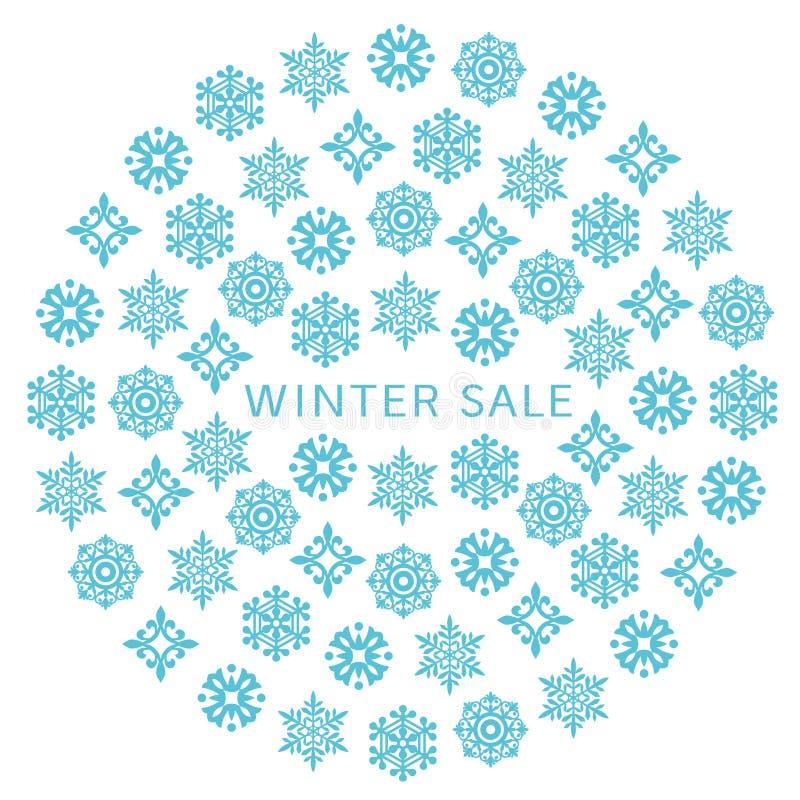 Círculo de la venta del invierno con los cristales de la nieve stock de ilustración