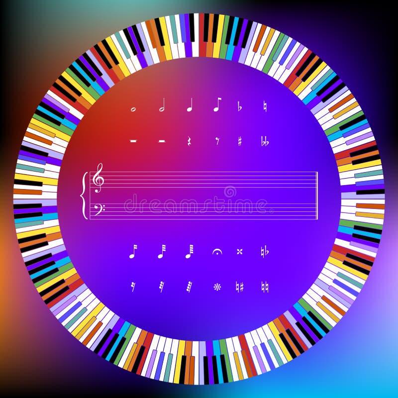Círculo de las llaves del piano y de los símbolos de música coloreados ilustración del vector