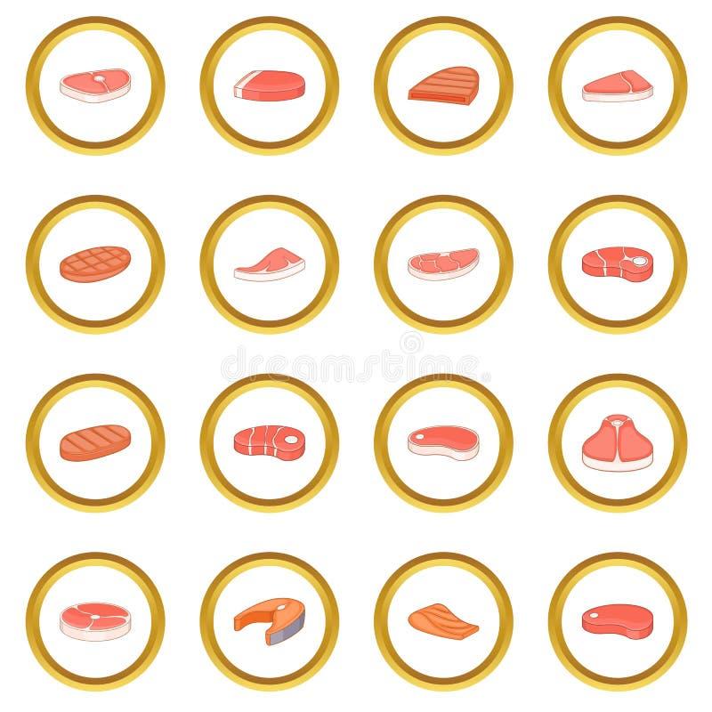 Círculo de los iconos del filete stock de ilustración