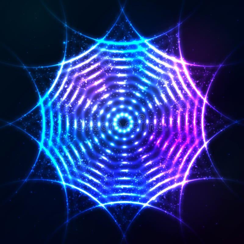 Círculo de neón azul brillante brillante en cósmico oscuro stock de ilustración