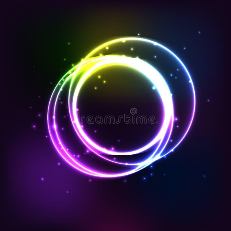 Círculo de neón Marco redondo con brillar intensamente y luz Diseño brillante eléctrico de la bandera del circuito 3d en el conte libre illustration