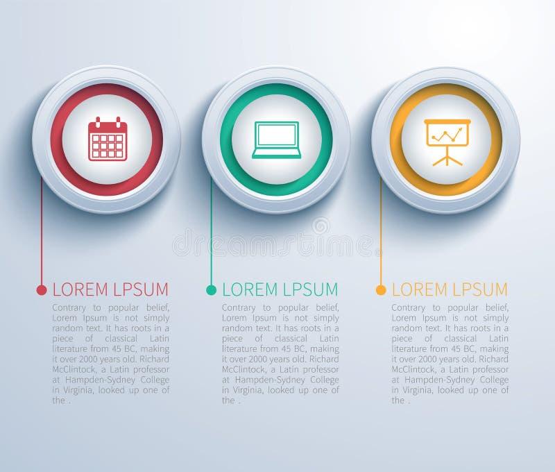 Círculo de papel infographic ilustração stock