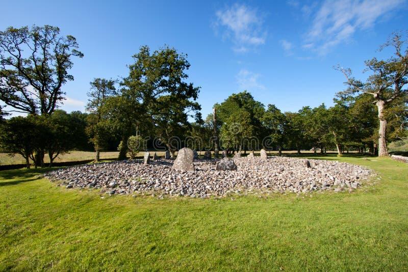 Círculo de pedra de madeira do templo, vale de Kilmartin, Escócia foto de stock