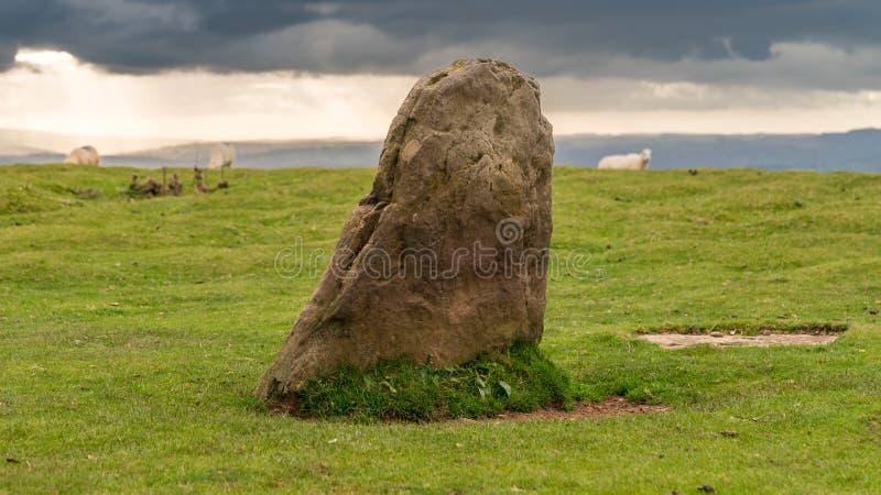 Círculo de piedra cerca de Hay Bluff, montañas negras, faros de Brecon, Powys, País de Gales, Reino Unido imagen de archivo