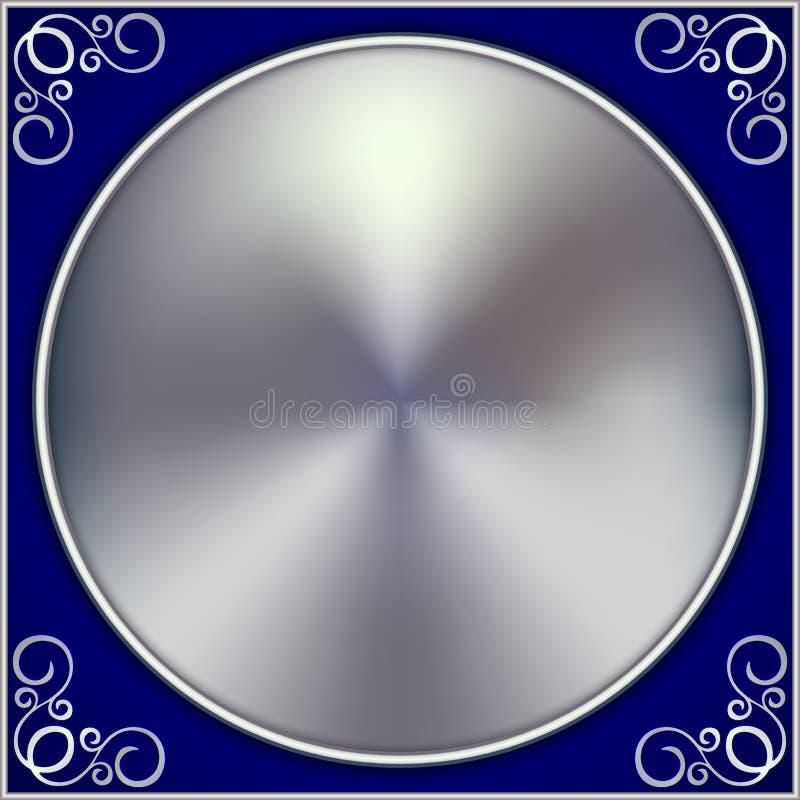 Círculo de prata abstrato do vetor no fundo azul ilustração royalty free