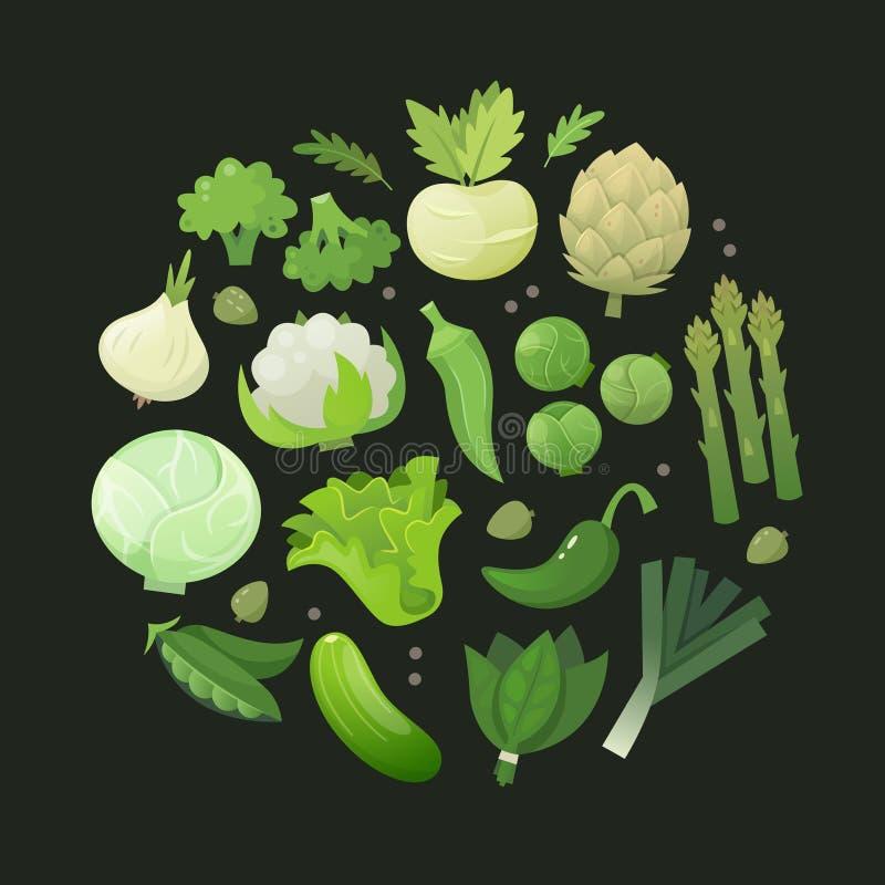 Círculo de verduras verdes ilustración del vector