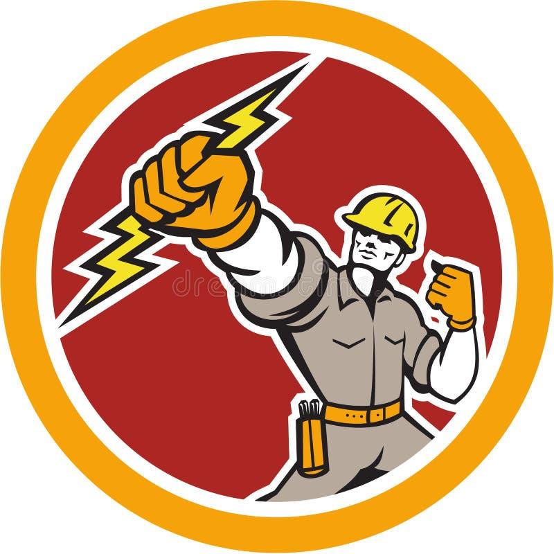 Círculo de Wielding Lightning Bolt do eletricista retro ilustração do vetor