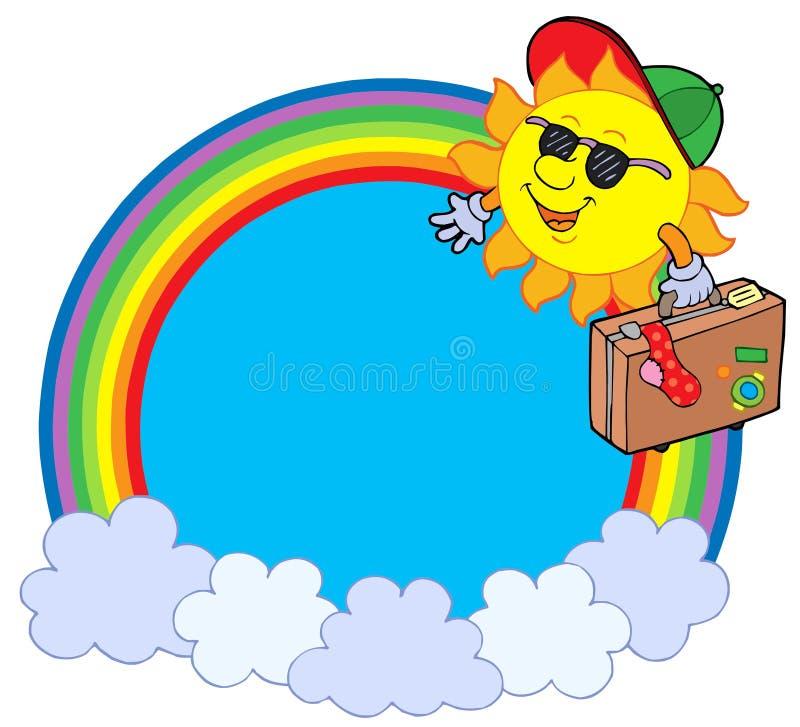 Círculo del arco iris con el viajero del sol stock de ilustración