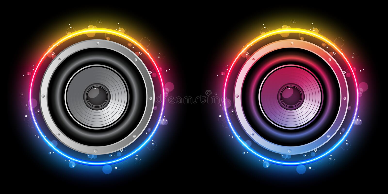 Círculo del arco iris del altavoz del disco ilustración del vector