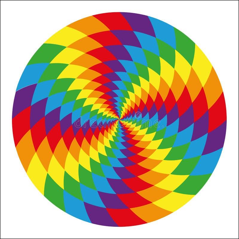 Círculo del arco iris psicodélico abstracto stock de ilustración