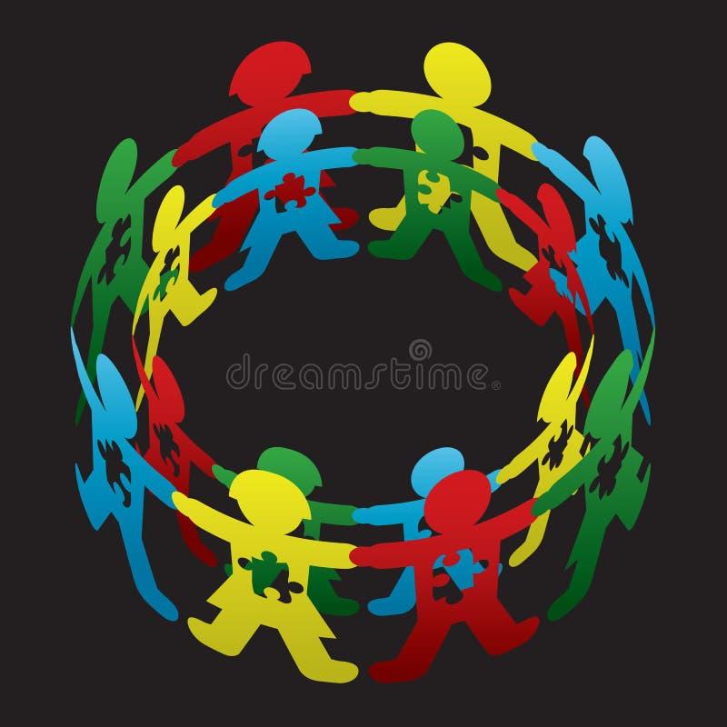 Círculo del autismo de niño de la esperanza ilustración del vector