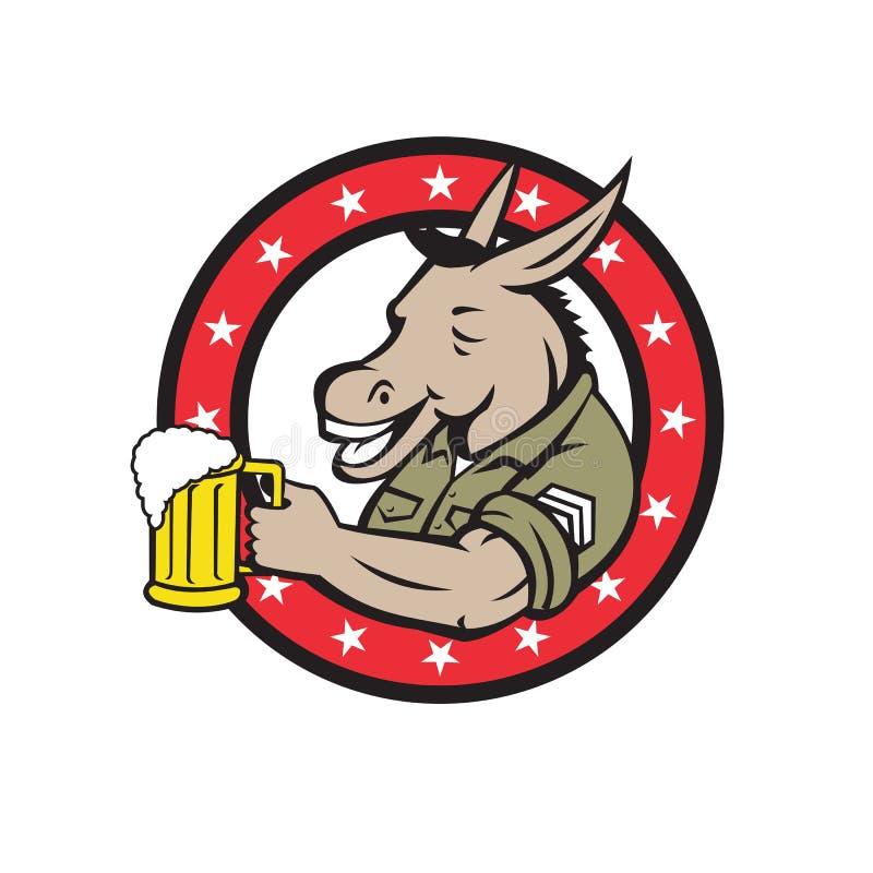Círculo del bebedor de cerveza del burro retro ilustración del vector