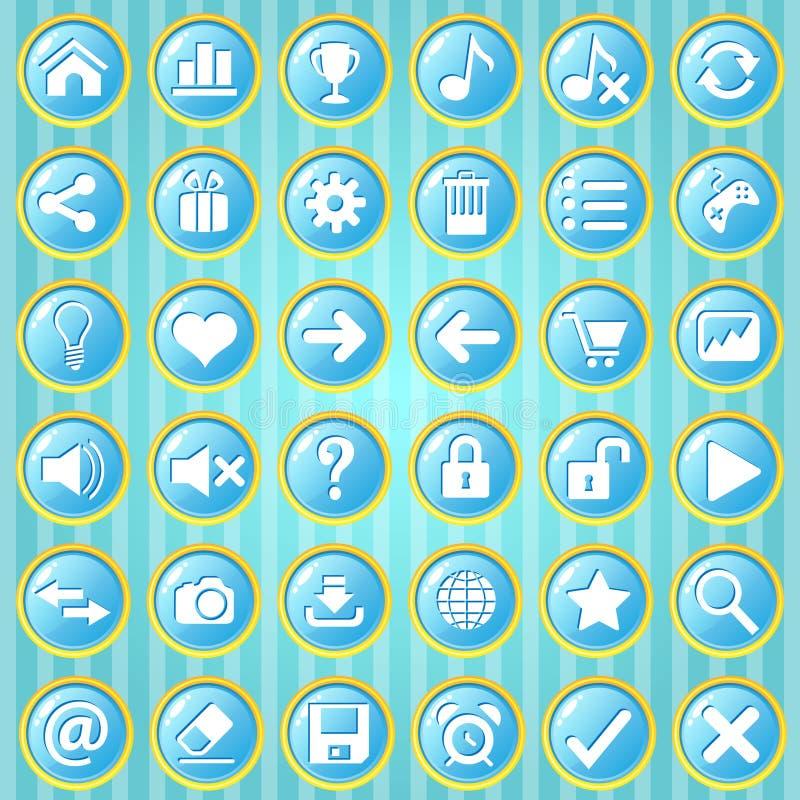 Círculo del cielo azul de Gui Button con la frontera de oro ilustración del vector