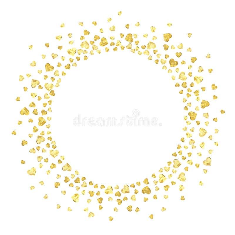 Círculo del corazón del oro ilustración del vector